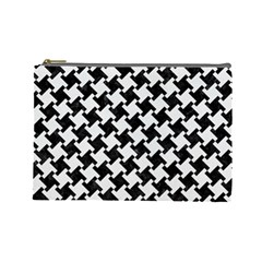 Houndstooth2 Black Marble & White Linen Cosmetic Bag (large)