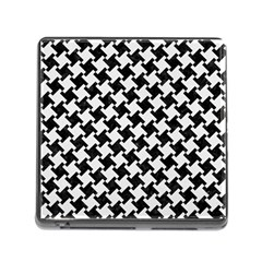 Houndstooth2 Black Marble & White Linen Memory Card Reader (square)