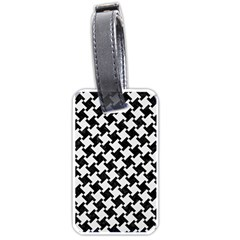 Houndstooth2 Black Marble & White Linen Luggage Tags (two Sides)