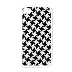 Houndstooth2 Black Marble & White Linen Apple Iphone 4 Case (white)