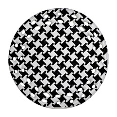 Houndstooth2 Black Marble & White Linen Ornament (round Filigree)