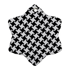 Houndstooth2 Black Marble & White Linen Ornament (snowflake)