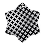 HOUNDSTOOTH2 BLACK MARBLE & WHITE LINEN Ornament (Snowflake) Front