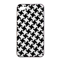 Houndstooth2 Black Marble & White Linen Apple Iphone 4/4s Seamless Case (black)