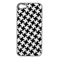 Houndstooth2 Black Marble & White Linen Apple Iphone 5 Case (silver)