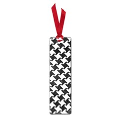 Houndstooth2 Black Marble & White Linen Small Book Marks