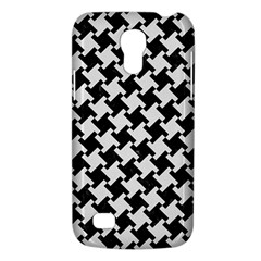 Houndstooth2 Black Marble & White Linen Galaxy S4 Mini