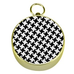 Houndstooth2 Black Marble & White Linen Gold Compasses