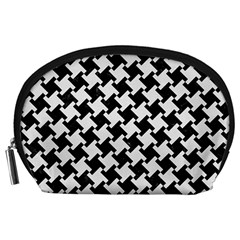 Houndstooth2 Black Marble & White Linen Accessory Pouches (large)
