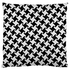 Houndstooth2 Black Marble & White Linen Large Flano Cushion Case (two Sides)