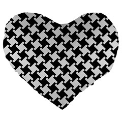 Houndstooth2 Black Marble & White Linen Large 19  Premium Flano Heart Shape Cushions