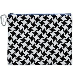 Houndstooth2 Black Marble & White Linen Canvas Cosmetic Bag (xxxl)