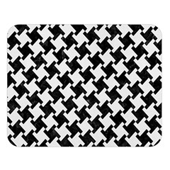Houndstooth2 Black Marble & White Linen Double Sided Flano Blanket (large)