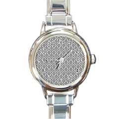 Hexagon1 Black Marble & White Linen Round Italian Charm Watch