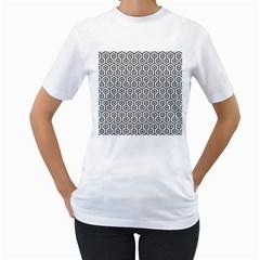 Hexagon1 Black Marble & White Linen Women s T Shirt (white) (two Sided)