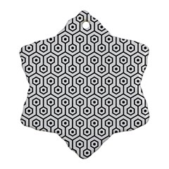 Hexagon1 Black Marble & White Linen Snowflake Ornament (two Sides)