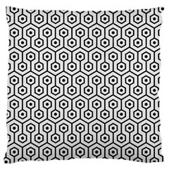 Hexagon1 Black Marble & White Linen Large Cushion Case (one Side)