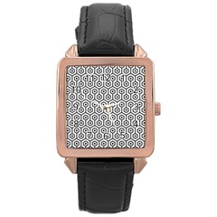Hexagon1 Black Marble & White Linen Rose Gold Leather Watch