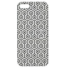 Hexagon1 Black Marble & White Linen Apple Iphone 5 Hardshell Case With Stand