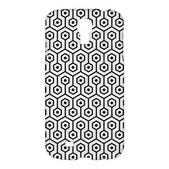 Hexagon1 Black Marble & White Linen Samsung Galaxy S4 I9500/i9505 Hardshell Case