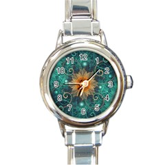 Beautiful Tangerine Orange And Teal Lotus Fractals Round Italian Charm Watch