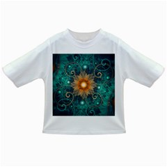 Beautiful Tangerine Orange And Teal Lotus Fractals Infant/toddler T Shirts