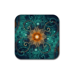 Beautiful Tangerine Orange And Teal Lotus Fractals Rubber Square Coaster (4 Pack)