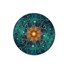 Beautiful Tangerine Orange And Teal Lotus Fractals Rubber Round Coaster (4 Pack)