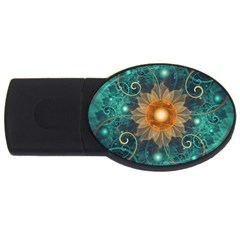 Beautiful Tangerine Orange And Teal Lotus Fractals Usb Flash Drive Oval (2 Gb)