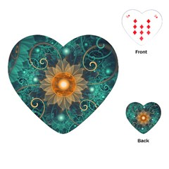Beautiful Tangerine Orange And Teal Lotus Fractals Playing Cards (heart)
