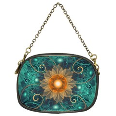 Beautiful Tangerine Orange And Teal Lotus Fractals Chain Purses (two Sides)