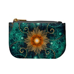 Beautiful Tangerine Orange And Teal Lotus Fractals Mini Coin Purses