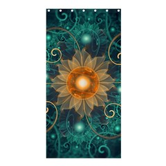 Beautiful Tangerine Orange And Teal Lotus Fractals Shower Curtain 36  X 72  (stall)