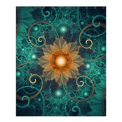 Beautiful Tangerine Orange And Teal Lotus Fractals Shower Curtain 60  X 72  (medium)
