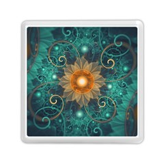 Beautiful Tangerine Orange And Teal Lotus Fractals Memory Card Reader (square)