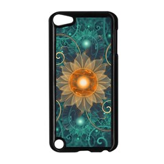 Beautiful Tangerine Orange And Teal Lotus Fractals Apple Ipod Touch 5 Case (black)