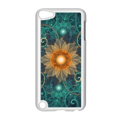Beautiful Tangerine Orange And Teal Lotus Fractals Apple Ipod Touch 5 Case (white)