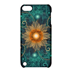 Beautiful Tangerine Orange And Teal Lotus Fractals Apple Ipod Touch 5 Hardshell Case With Stand
