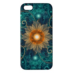 Beautiful Tangerine Orange And Teal Lotus Fractals Apple Iphone 5 Premium Hardshell Case