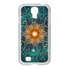 Beautiful Tangerine Orange And Teal Lotus Fractals Samsung Galaxy S4 I9500/ I9505 Case (white)