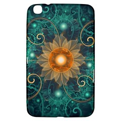 Beautiful Tangerine Orange And Teal Lotus Fractals Samsung Galaxy Tab 3 (8 ) T3100 Hardshell Case