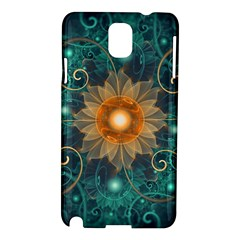 Beautiful Tangerine Orange And Teal Lotus Fractals Samsung Galaxy Note 3 N9005 Hardshell Case