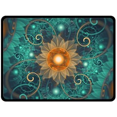 Beautiful Tangerine Orange And Teal Lotus Fractals Double Sided Fleece Blanket (large)