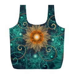 Beautiful Tangerine Orange And Teal Lotus Fractals Full Print Recycle Bags (l)