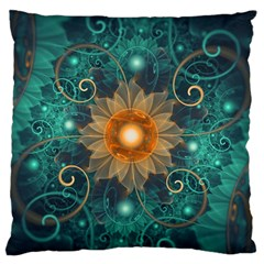 Beautiful Tangerine Orange And Teal Lotus Fractals Standard Flano Cushion Case (two Sides)