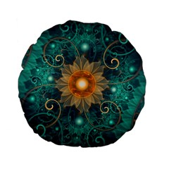 Beautiful Tangerine Orange And Teal Lotus Fractals Standard 15  Premium Flano Round Cushions