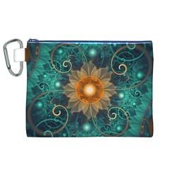 Beautiful Tangerine Orange And Teal Lotus Fractals Canvas Cosmetic Bag (xl)