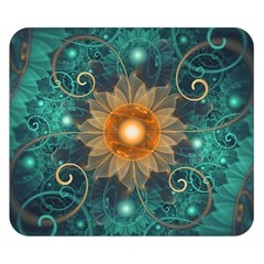 Beautiful Tangerine Orange And Teal Lotus Fractals Double Sided Flano Blanket (small)