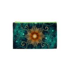 Beautiful Tangerine Orange And Teal Lotus Fractals Cosmetic Bag (xs)
