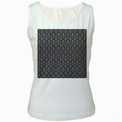 Hexagon1 Black Marble & White Linen (r) Women s White Tank Top
